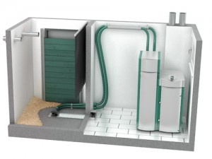 Figure 1.3: The Pellergy Alpha Boiler Basic Installation with Bulk Pellet Storage