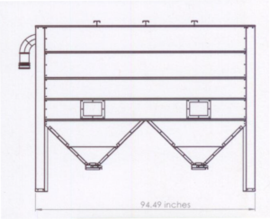 Storage bin for wood pellet stove front schematic